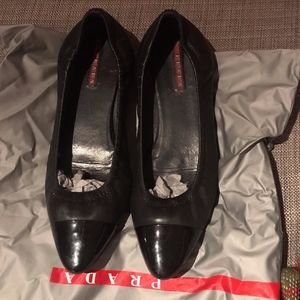 Prada ballet flats-- leather/patent leather